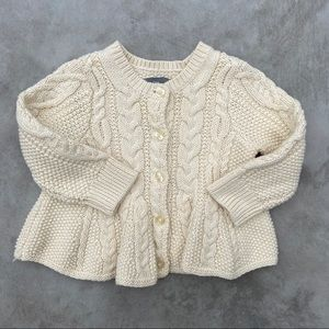 Baby Gap | peplum cable knit sweater cardigan